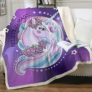 Sleepwish Unicorn Sherpa Fleece Blanket Purple Aqua Pony Throw Blanket Magical Horse Print Plush Blanket for Sofa Clair Bed Office Christmas Throw Blankets 50x60