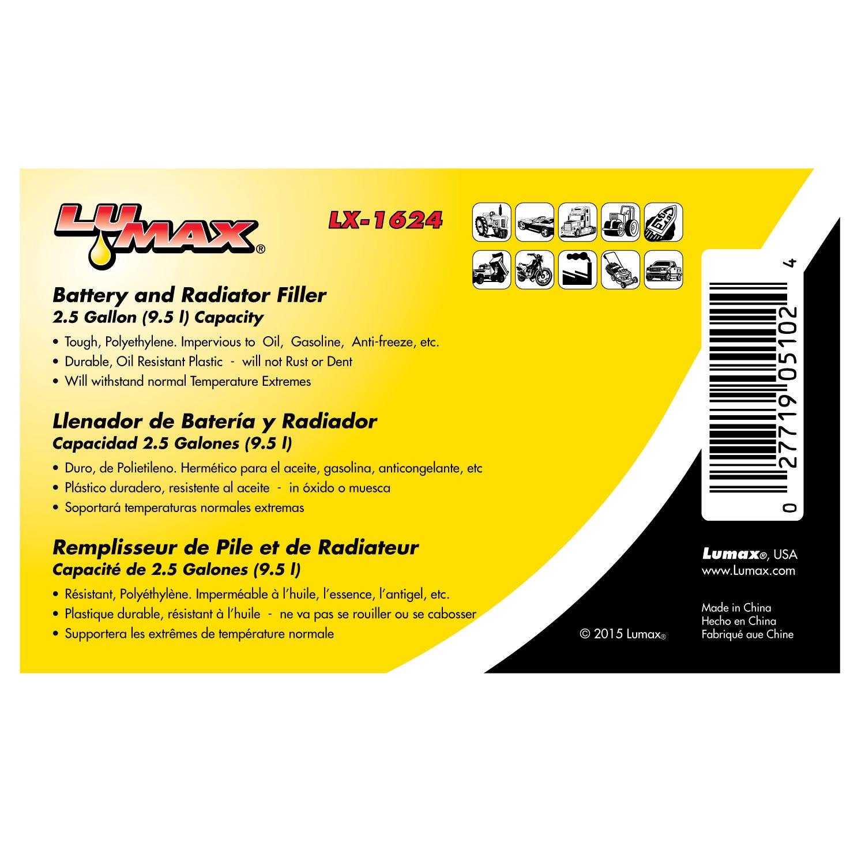 Amazon.com: Lumax LX-1624 Black 2.5 Gallon Battery and Radiator Filler: Automotive