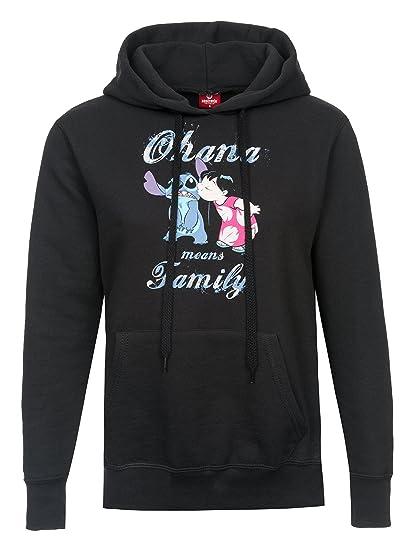 Disney Lilo /& Stitch Ohana Kiss Girl Hoodie Kapuzensweatshirt schwarz