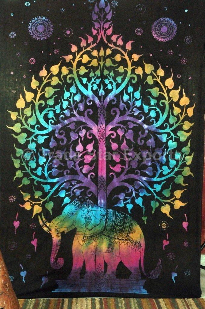 TSE Tie Dye Elephant Tapestry, Tree of Life Wall Art, Bohemian Dorm Room Décor, Twin Size Boho Bedding, Hippie Tapestries Wall Décor, Beach Blanket, Picnic Throw