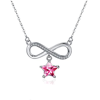 dca5d4c9ac210 Amazon.com: Maylover Infinity Star Necklace 14k White Gold Plated ...