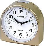 Vedette - VR10053 - Réveil Plastique - Quartz Analogique - Doré - Trotteuse Silencieuse - Lumière - Alarme Progressive
