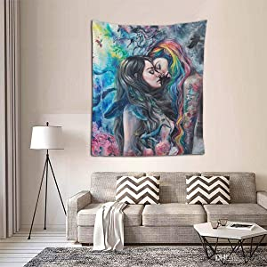 Wall Hanging Queen Tapestry, Boho Hippie Hippy Wall Tapestry, Indian Wall Decor, Goth Gothic Girl Lace Love LGBT Lesbian Pride, Kids Girls Boys Room Hippie Tapestries