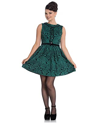 ebe9bbf56e Hell Bunny 50s Mini Skater Dress Woodland Trees Sherwood Dark Green   Amazon.co.uk  Clothing