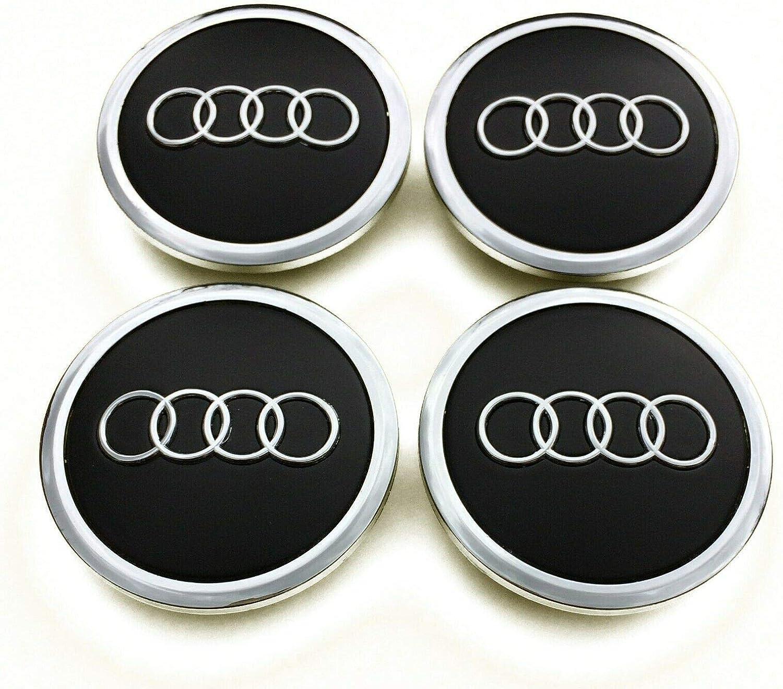 Coprimozzi AudiLogo 4x 69mm Tappi Centrali per Ruote Auto Coprimozzo Nero Opaco 4B0601170A A4 A6 Q5 Q7