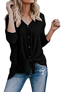 4a7791134d Chvity Womens Waffle Knit Tunic Blouse Tie Knot Henley Tops Loose Fitting  Bat Wing Plain Shirts