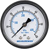 MEASUREMAN 2' Swimming Pool Pressure Gauge, 1/4' NPT Back Mount, 0-60psi/kpa, Plastic Case