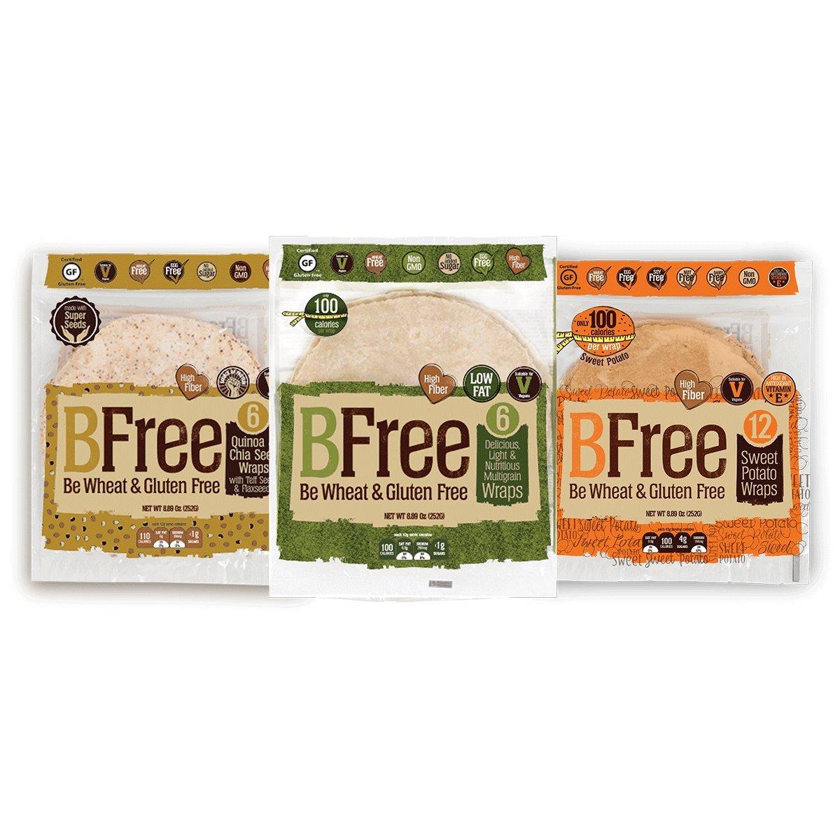 Bfree Gluten Free Wrap Tortillas Variety Pack 8'' Sweet Potato, Multigrain, Quinoa, Wraps Variety by Bfree