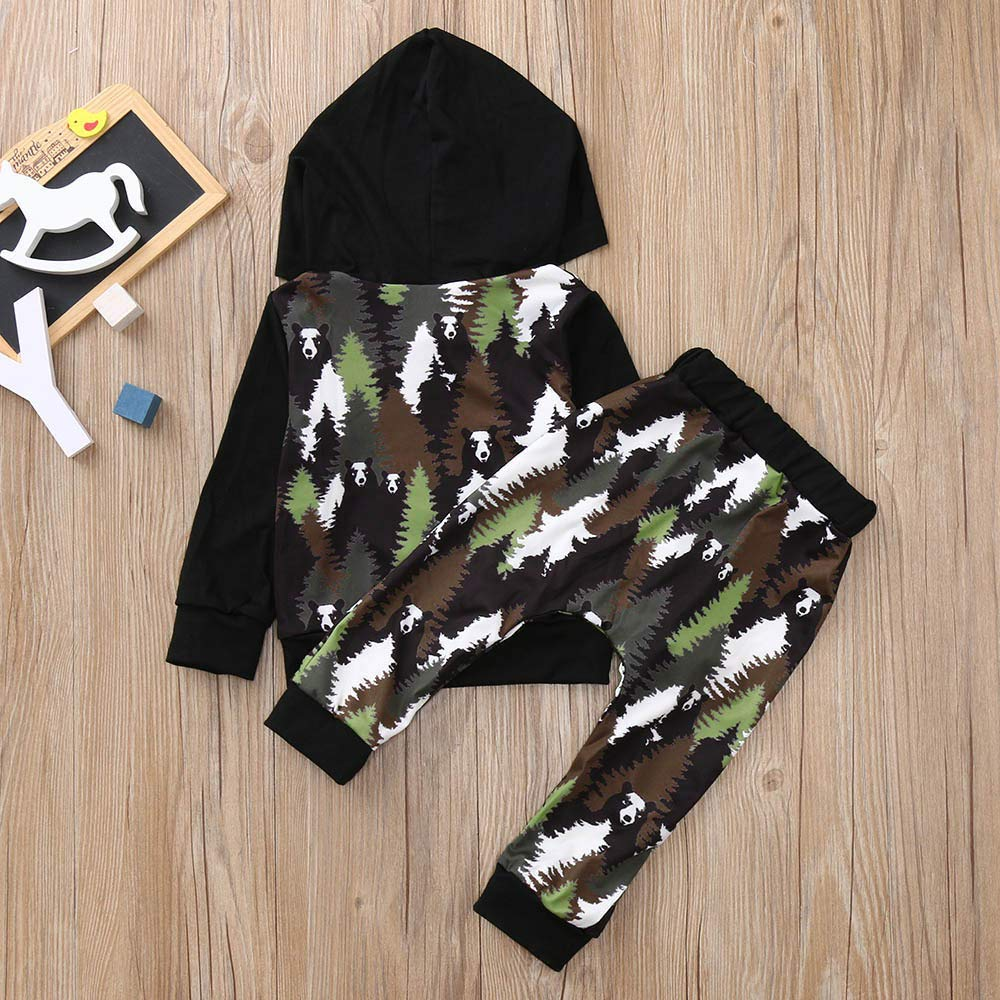 Wenjuan Woods Panda Print Hooded Camouflage Blouse Top+Pants Outfits Set for Newborn Toddler Infant Baby Boys Girls