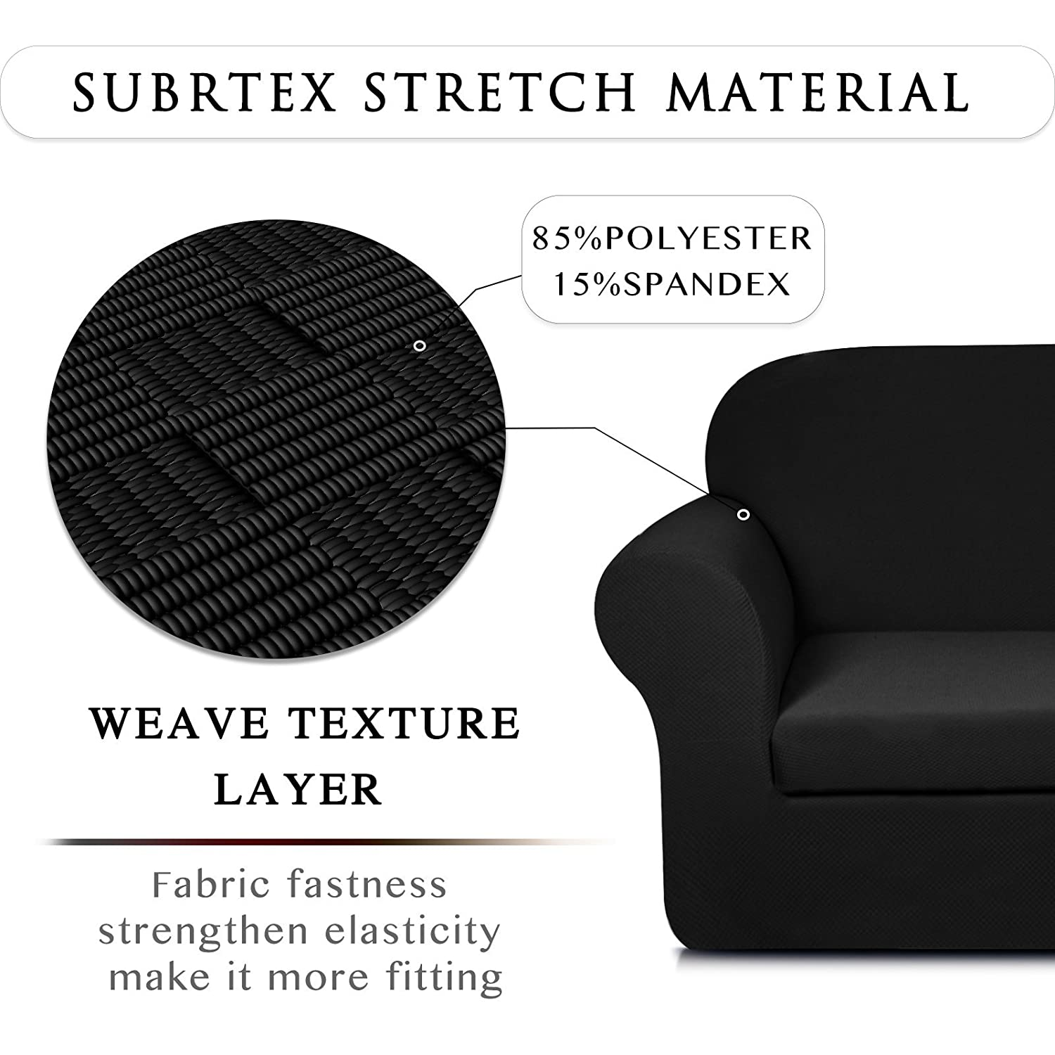 Reusable 1 Seater Cushion Cover Coffee, Chair Premium Jacquard Fabric Furniture Protector for Sofa Subrtex 2-Piece Stylish Knit Sofa Slipcover High Spandex Stretch Settee Cover