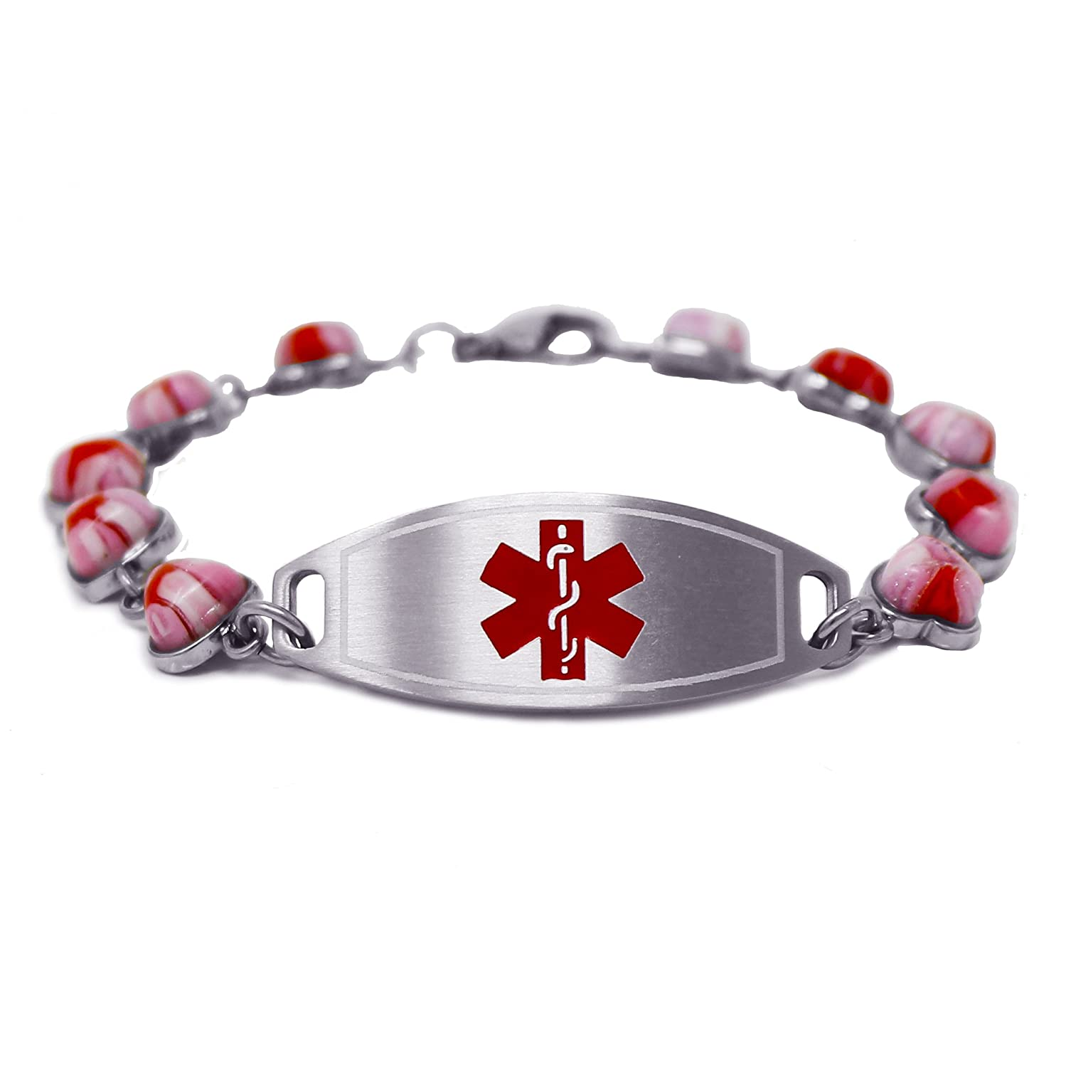 My Identity Doctor – Womens Medical ID Bracelet with Engraving – 1.2cm Steel Glass Hearts – Made in USA
