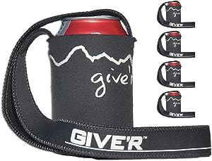 Give'r Hands Free Neck Coozie | Fits Cans or Bottles | Beer & Beverage Insulator Lanyard Drink Holder (4 Pack)
