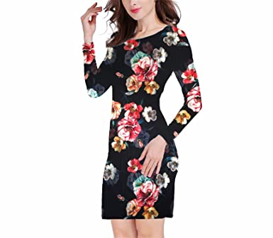 COOCOl New Dress Women Clothing Spring Fashion Flower Print Dress Ladies Long Sleeve Casual Autumn Dresses Vestidos WC0592 at Amazon Womens Clothing store: