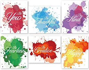 """Inspirational Words Quote Colorful Abstract Canvas Art Print,Set of 6, Positive Affirmation Motivational Quote Typography Print Wall Art for Office Kids Teens Bedroom Home Decor,Unframed,8""""X10"""""""