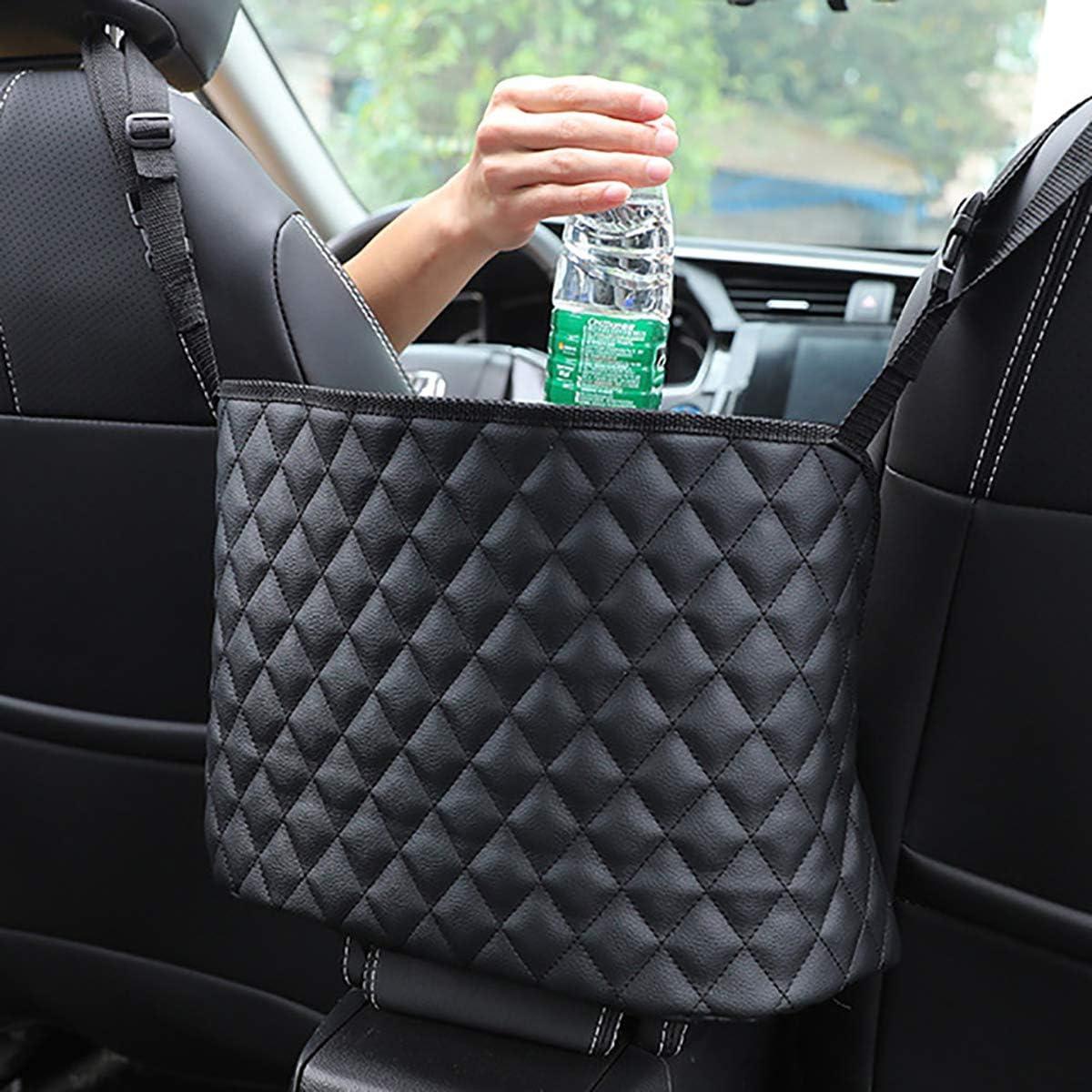 Barrier of Backseat Pet Kids TWAYFEL Car Net Pocket Handbag Holder Black, Upgrade Driver Storage Netting Pouch for Purse Between Two Seat Seat Back Organizer Mesh Large Capacity Bag