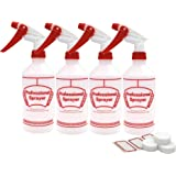 SEASEA Spray Bottles with 6 Labels and 4 screw caps - Professional Sprayer Cleaning/Food/Essential Oil Safe - Will Not Leak Adjustable Nozzle, Multi Purpose Use (4 Pack)