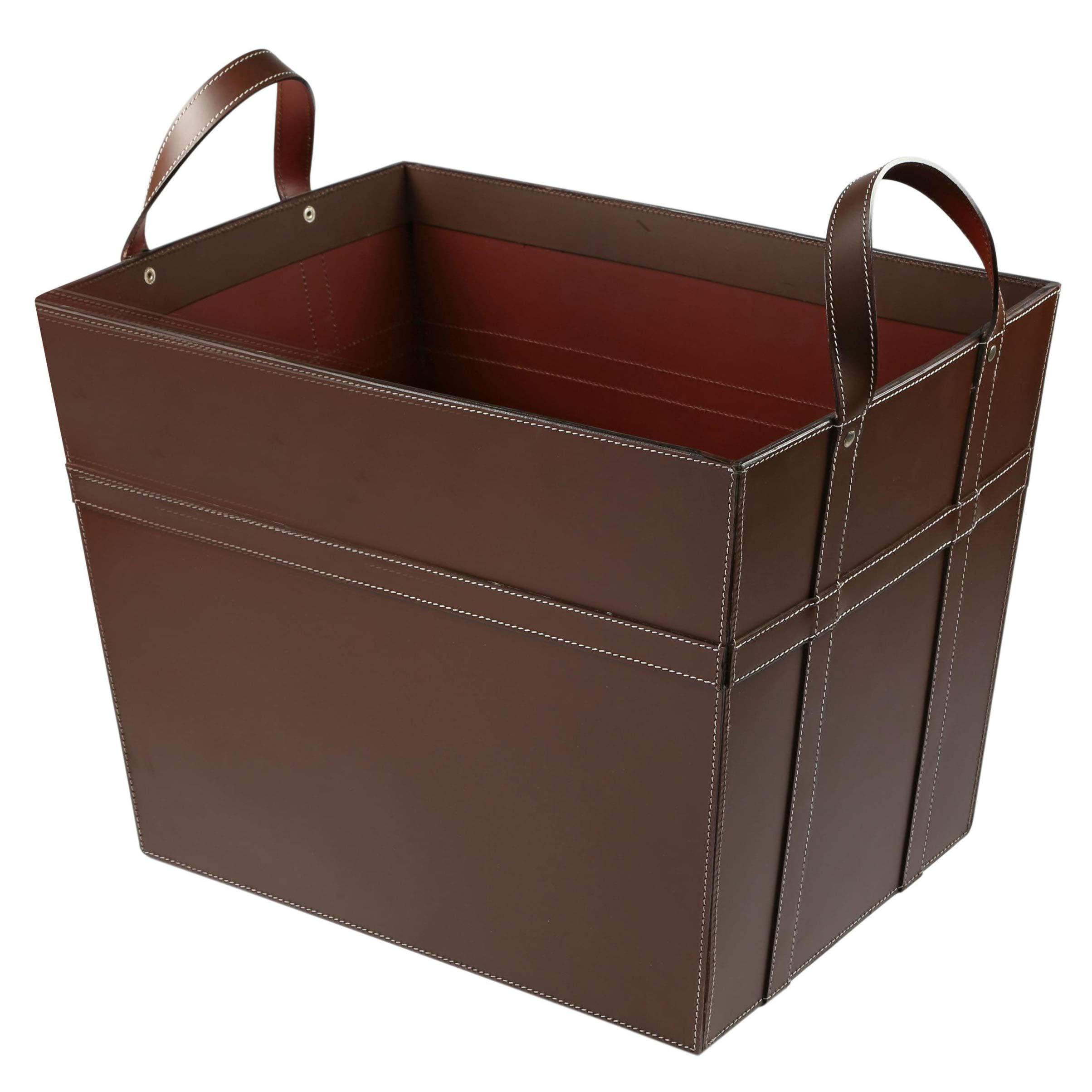 KINDWER Leather Magazine Basket with Handles, Brown