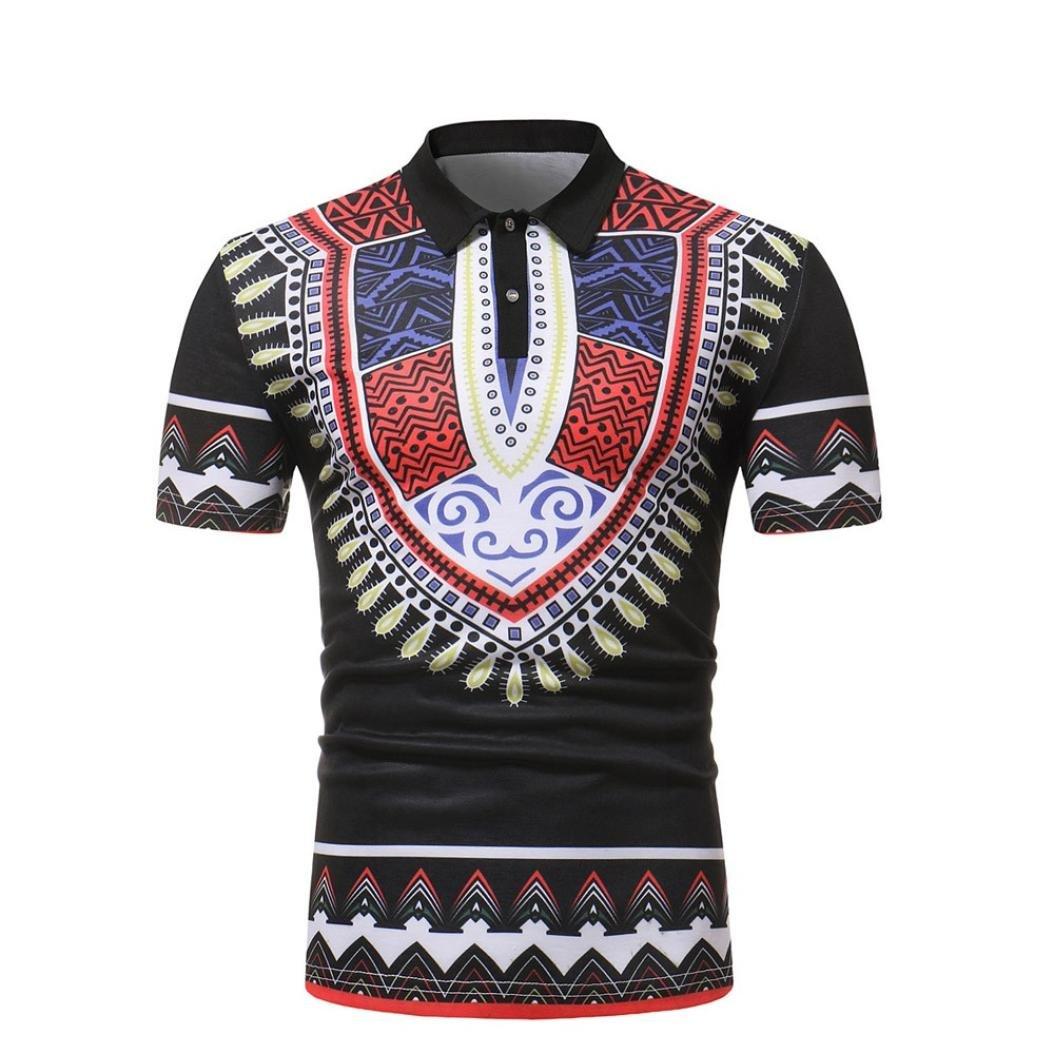 VIASA Men Slim Fit Short Sleeve African Printed Muscle Tee T-Shirt Casual Tops Blouse (Black, M)