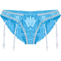 ACSUSS Men's Shiny Satin Flutter Lined Sissy Pouch Panties Underwear Garters