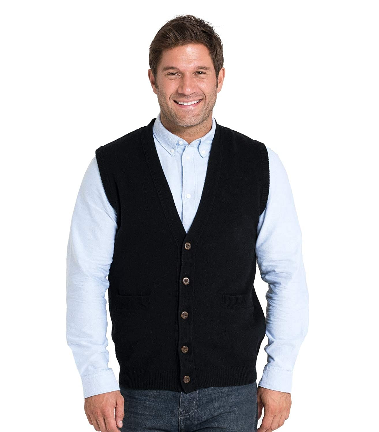WoolOvers Mens Lambswool Knitted Vest at Amazon Men's Clothing ...