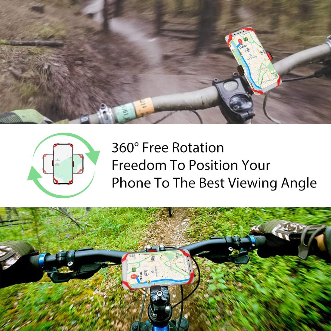 Galaxy S20 or Any Cell Phone Newbona Bike Phone Mount,Universal Phone Holder for Bike /& Motercycle,Anti Shake and Stable Bike Handlebar Holder Fit iPhone 11 Pro Xs, Xr,Plus//Max