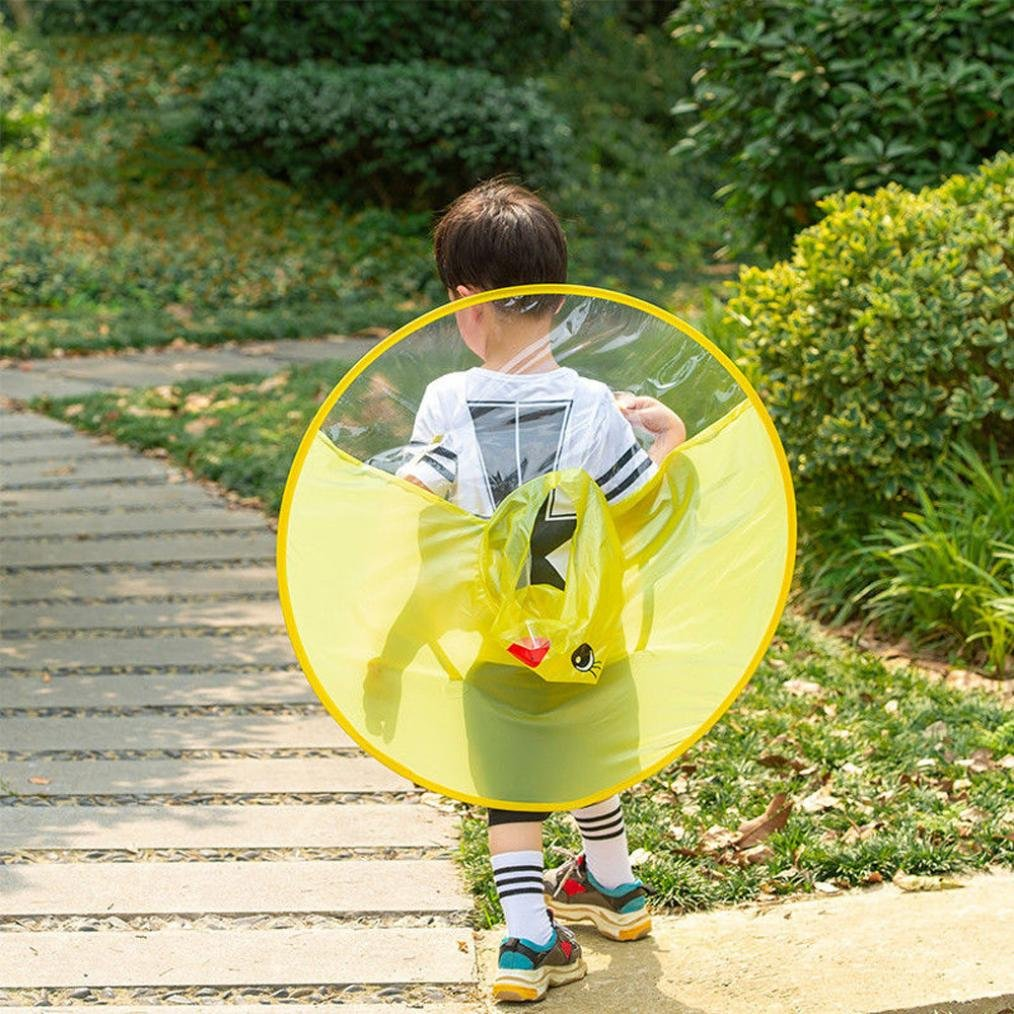 XILALU Kids UFO Raincoat, Windproof & Waterproof Foldable Cute Transparent Cartoon Duck Hands Free Umbrella Hat Funny Rain Coat-Scratch Resist (Yellow, Child S) by XILALU (Image #3)
