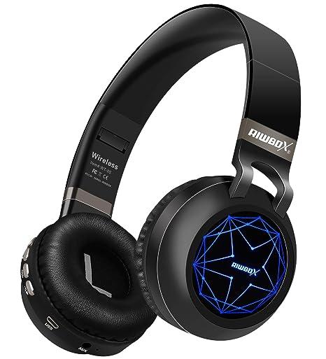 0e05a645147 Riwbox WT-8S Bluetooth Headphones, LED Light Up Wireless Headphones Over  Ear Hi-