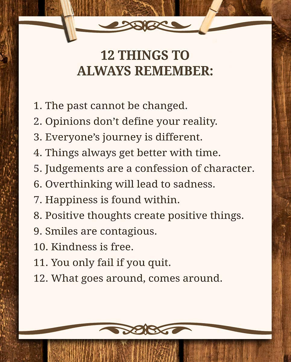 """12 Things To Always Remember""- Inspirational Wall Art- 8 x 10"" Print Wall Decor-Ready to Frame. Modern Typographic Print for Home-Office-School Decor. Great Positive Thinking Reminders!"