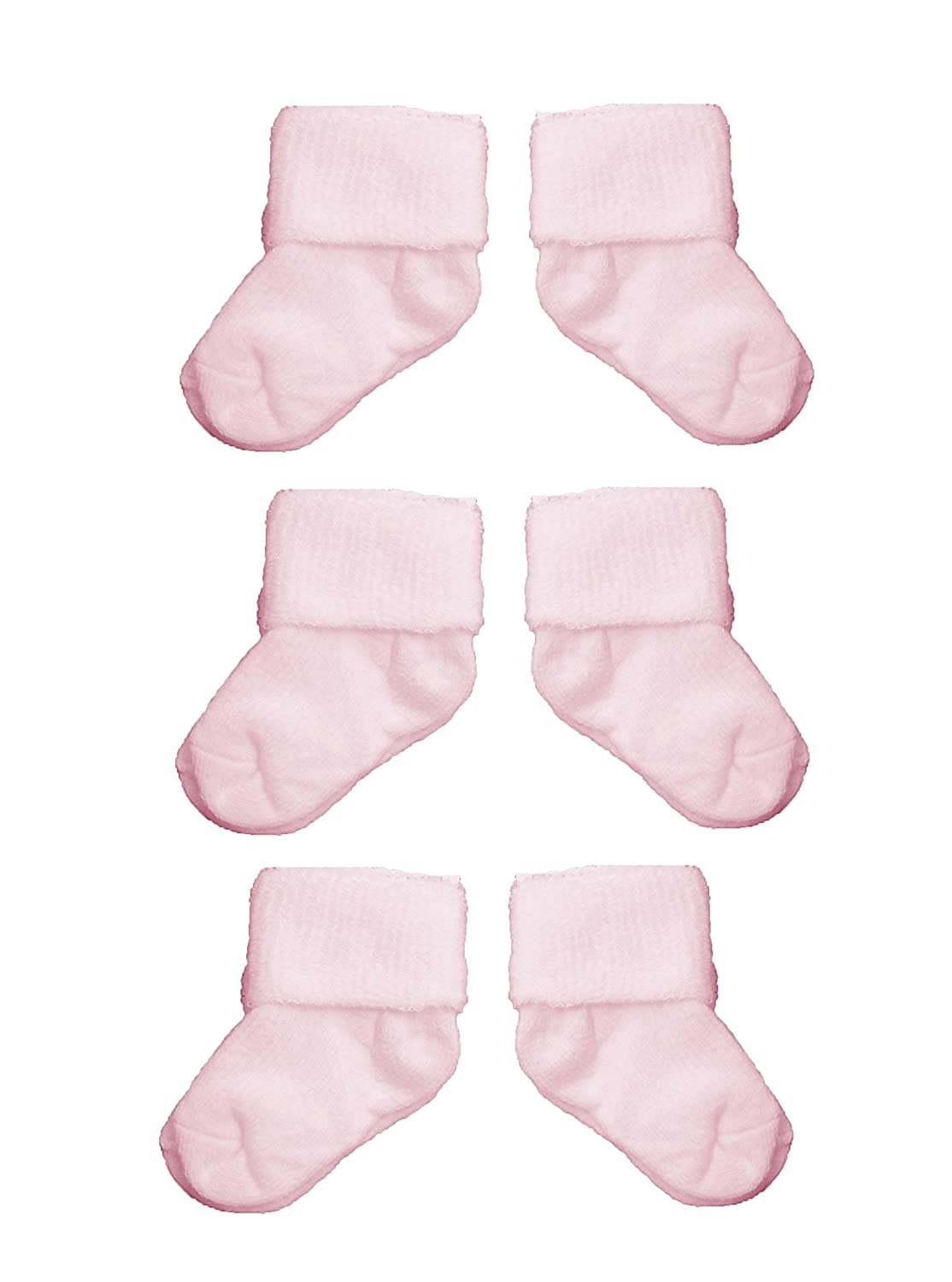 Baby Girls Cute Roll Over Socks 3 PAIRS - Plain Pink (0-3 Months)