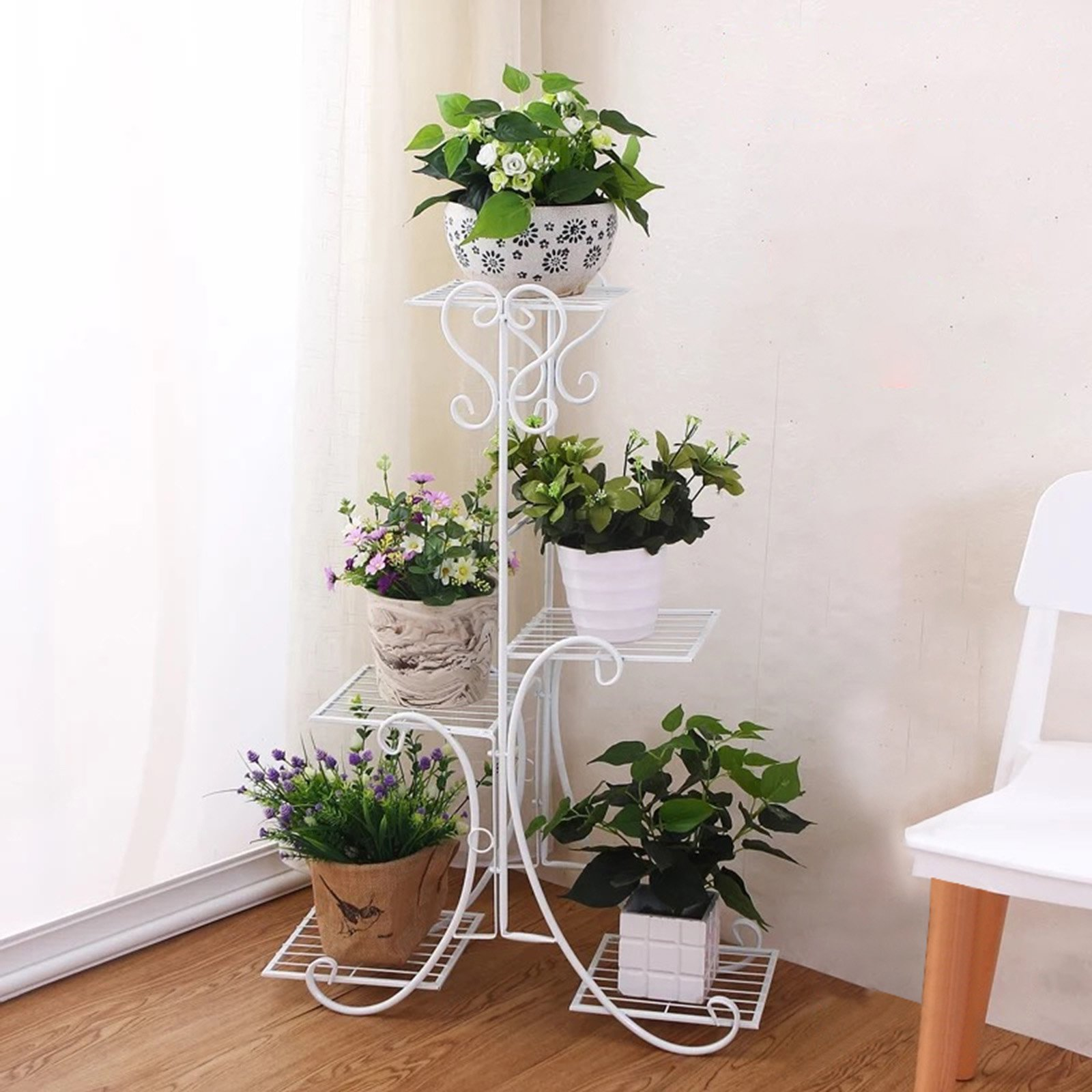 Solofish 5 Tier Metal Plant Stand Decorative Planter Holder Flower Pots Stander White