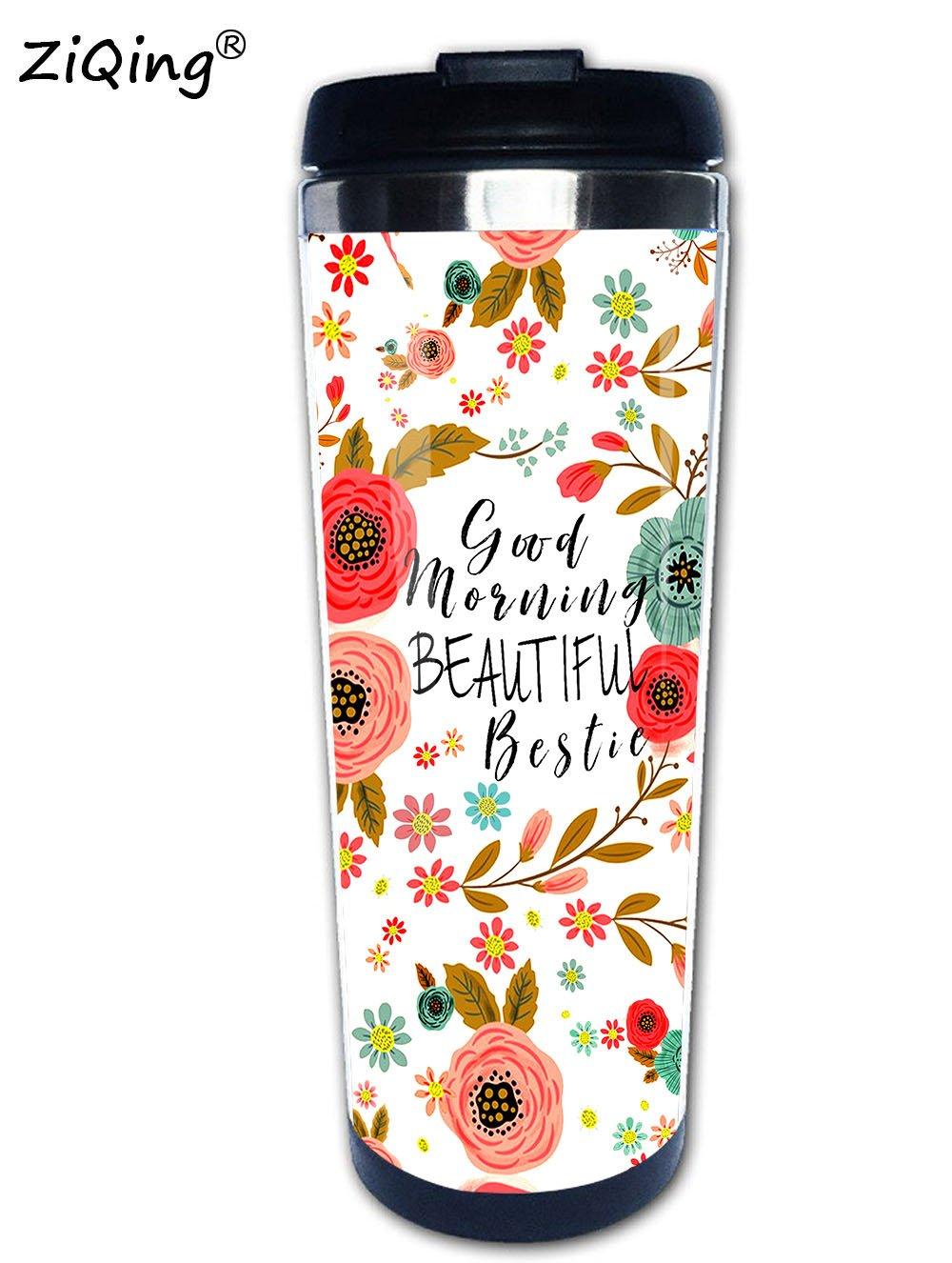 Best Friend Mug,Good Morning Beautiful Bestie Mug Flower Stainless Steel Travel Mug cup Tumbler 350ml Tea Mug Unique Novelty Gift Idea for Her, Best Friend Gift Idea