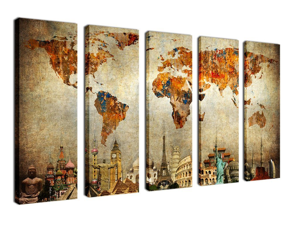 Canvas Wall Art Prints Vintage World Map Painting Canvas Prints - 5 Piece Canvas Art Nautical Map Picture Large Framed Artwork Ready to Hang for Living Room Bedroom Home Decoration 60'' x 36''