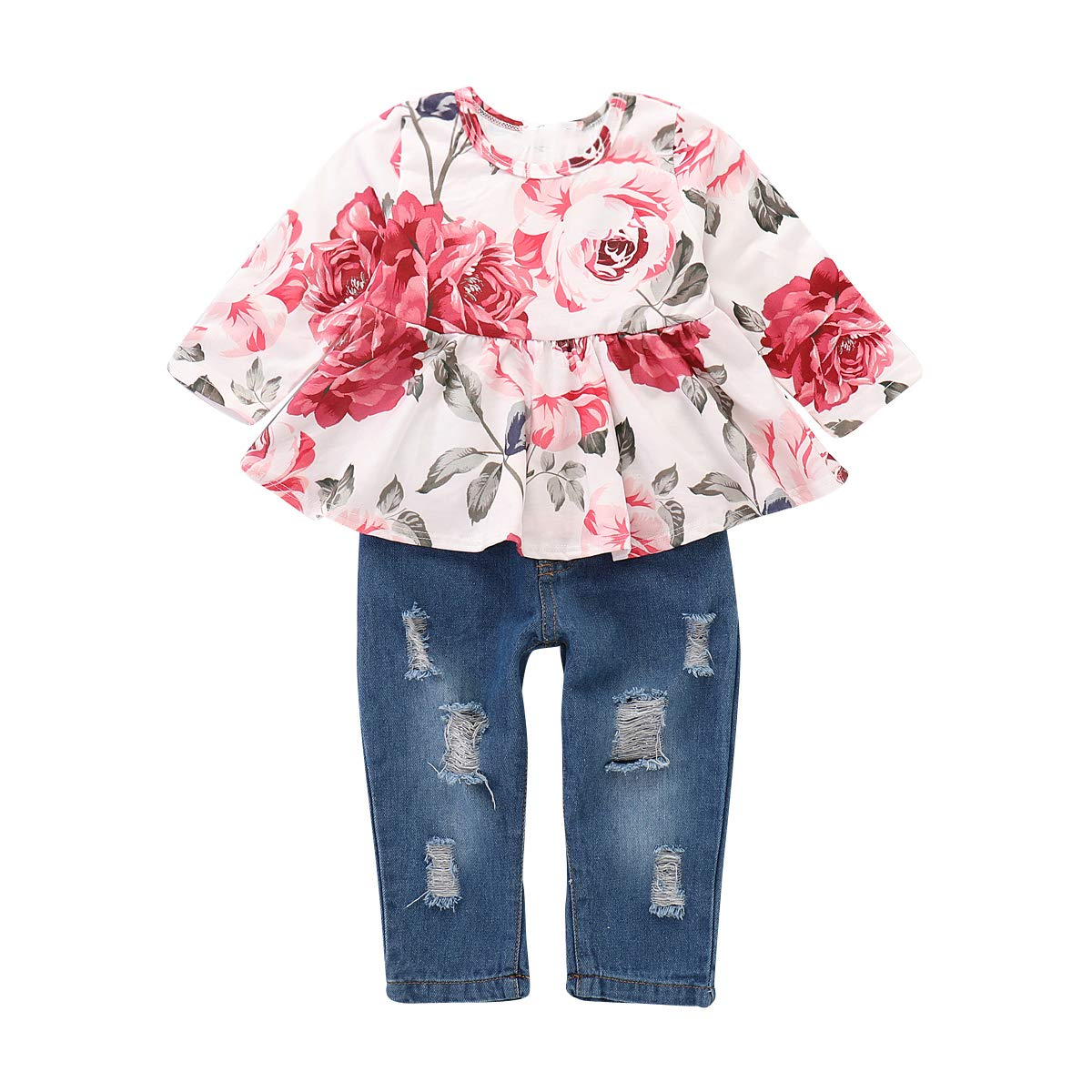 Ripped Jeans Clothes Set 2Pcs Toddler Girls Long Sleeve Floral Shirt Tops