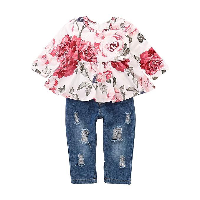 1fd1cfc3465a Amazon.com  puseky Baby Toddler Girls Floral Ruffle Shirt Dress Top ...