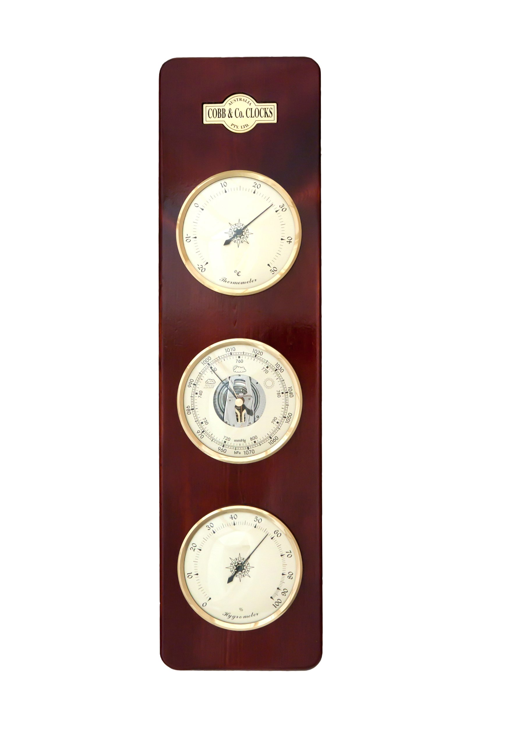 COBB & Co. Large 3 in 1 Barometer, Mahogany by COBB & Co. Clocks