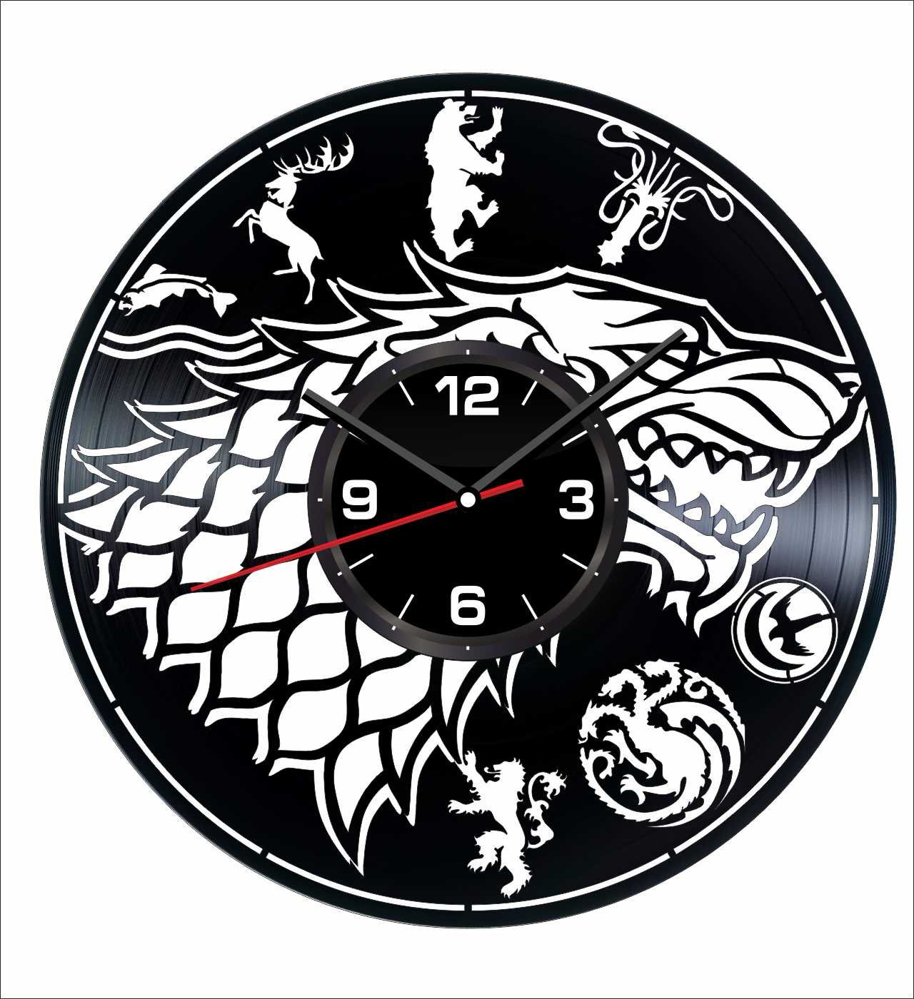 Game of Thrones Stark Wall Clock Made of Vintage Vinyl Records - Stylish clock and Amazing Gifts Idea – Unique Home Decor – Personalized Presents for Men Women – Great for Living Room Bedroom Kitchen