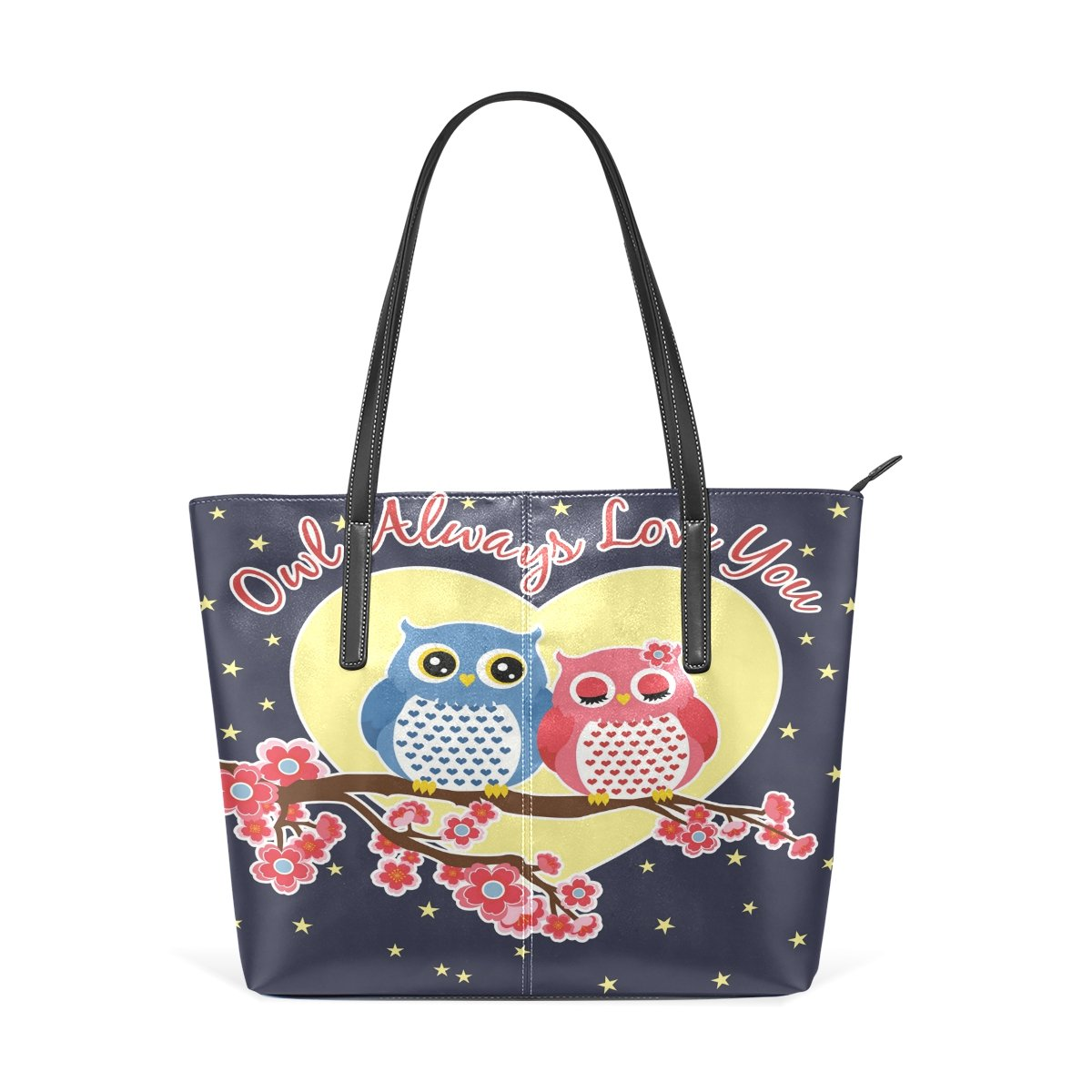 Women Leather Handbags Love Owls Top Handle Shoulder Bags