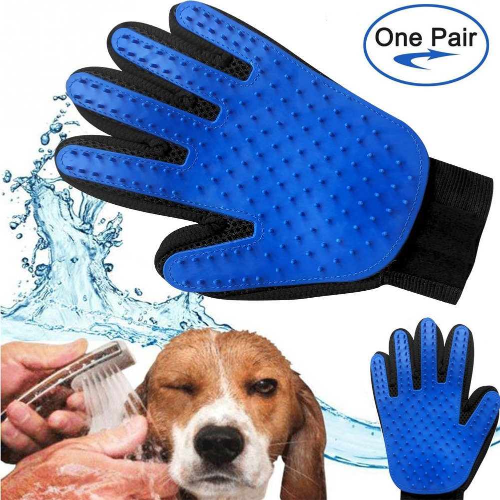 Arc International Pet Grooming Glove and Deshedding Glove Brush Best for Dogs and Cats Long and Short Fur Massage Tool with Enhanced Five Finger Design, Blue