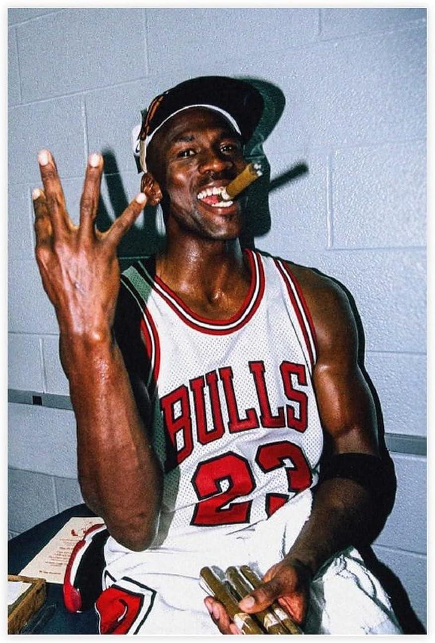 Findemo Michael Jordan Poster Smoking Cigar Cool Canvas Poster Bedroom Decor Sports Landscape Office Room Decor DONGDA Poster Gift Unframe:12×18inch(30×45cm)