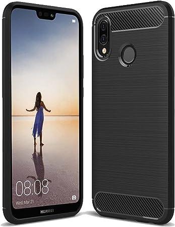 Huawei P20 Lite Funda Protectora Silicona Negra, Funda P20 Lite ...