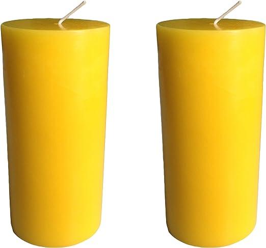 Velas grandes tipo pilar, 120 horas, color liso, 15 x 7 cm, de Collumino®, Amarillo, Pack de 2: Amazon.es: Hogar