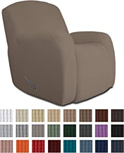 Easy-Going Oversized Recliner Stretch Sofa Slipcover Sofa Cover 1 Piece Furniture Protector Couch Soft with Elastic Bottom Kids,Polyester Spandex Jacquard Fabric Small Checks(Oversize Recliner,Camel)