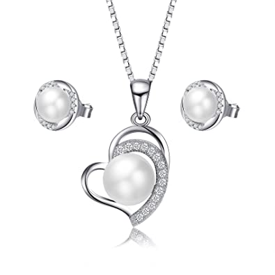 findout 925 sterling silver natural freshwater pearl 9 -10 mm pendant necklace. for women girls wedding party rt2AE8
