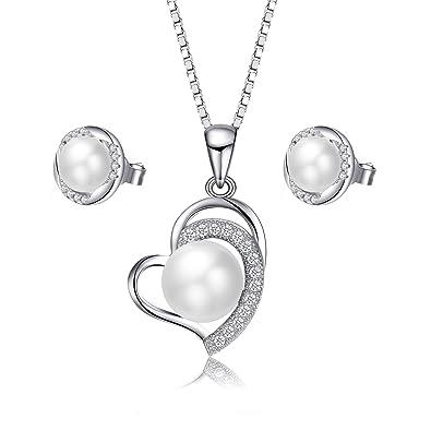 95c2f32e8930 Juego de collar y pendientes de perlas VIPMOON - 925 joyas de plata  esterlina Perlas de agua dulce pendientes corazón colgante Nekclaces para  mujer Partido ...