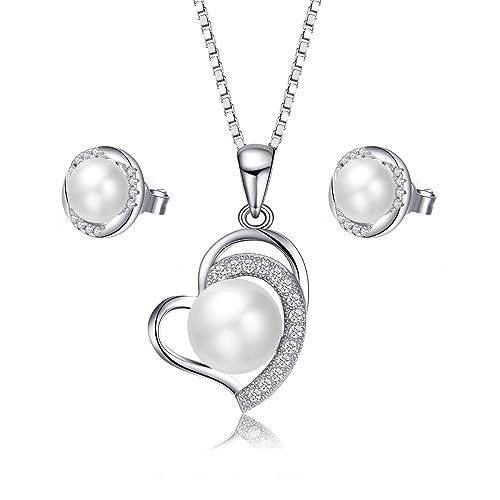 7b67b3737bda Juego de collar y pendientes de perlas VIPMOON - 925 joyas de plata  esterlina Perlas de agua dulce pendientes corazón colgante Nekclaces para  mujer ...