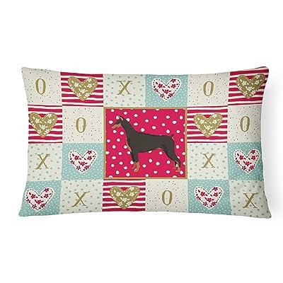 Caroline's Treasures CK5925PW1216 Doberman Pinscher Love Canvas Fabric Decorative Pillow, 12H x16W, Multicolor : Garden & Outdoor