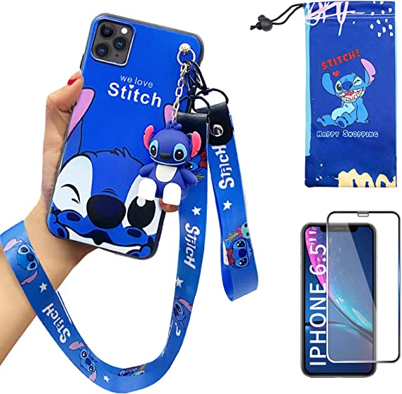 Amazon Com Iphone 11 Pro Max Case With Hd Screen Protector Cute Stitch Cartoon 3d Character Silicone Cover Case For Apple Iphone 11 Pro Max 6 5 With 2 Lanyard 1 Cell Phone Stand