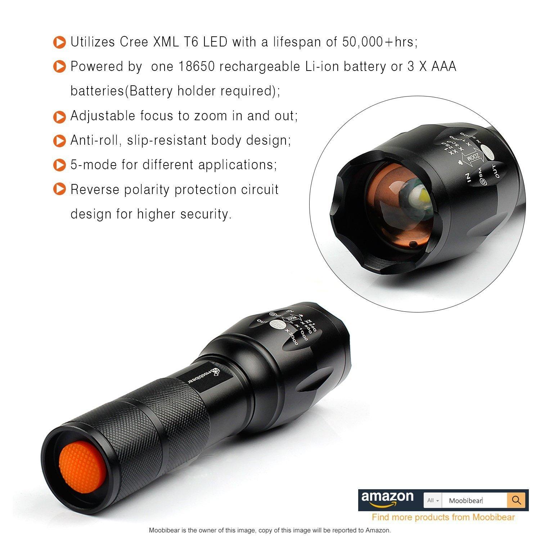 Rechargeable Led Tactical Flashlight Kit Moobibear 2017 Latest Schematic Application 800lm Ultra Bright Handheld Flashlights Adjustable Focus 5 Lighting Modes