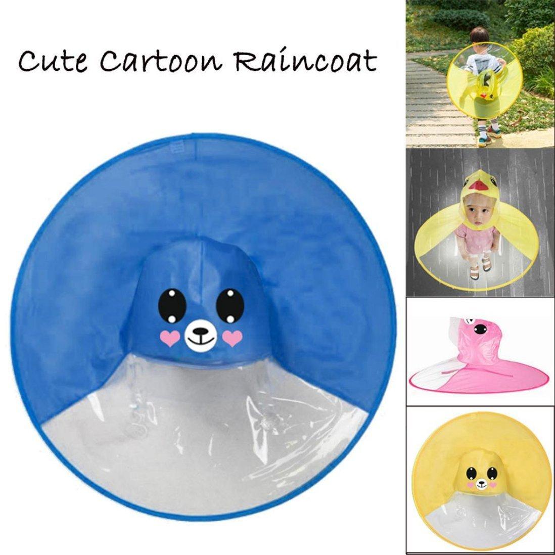 Kword Cute Pioggia Cappotto Cute Pioggia Cappotto Bambini UFO Ombrello Cappello Magico Impermeabile Mano-Free