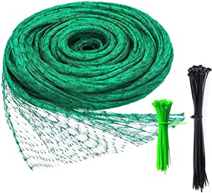 Anti Bird Netting, 13Ft x 33Ft Green Garden Netting with 150 Ties for Plants, Mesh Net Protect Seedling, Fruit, Vegetables from Birds and Wildlife, Reusable Fencing Garden Plant Mesh
